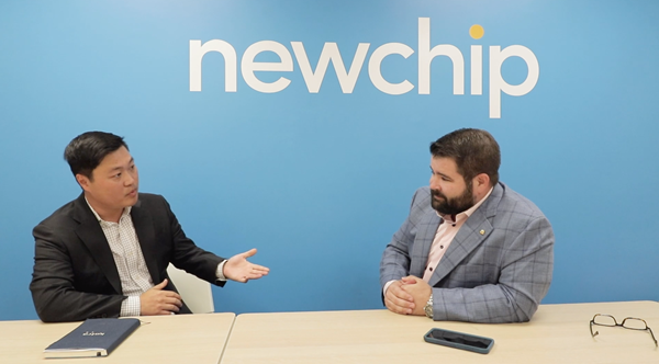 Joon Park from KOTRA meets with Joshua Lawton-Belous at the Newchip headquarters in Austin, Texas.