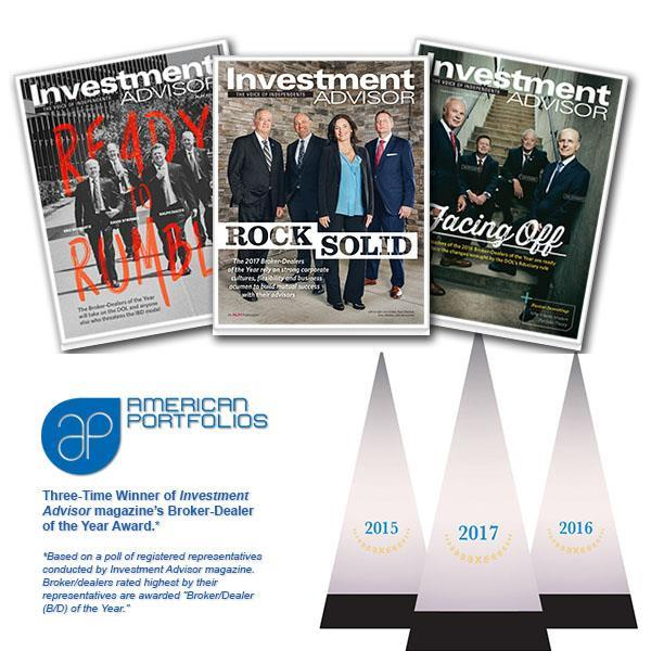 American Portfolios (AP) named Broker-Dealer of the Year in 2017 by Investment Advisor magazine for the third year in a row. AP won Division III, gaining top votes in the category of broker/dealers with 500-999 producing advisors.