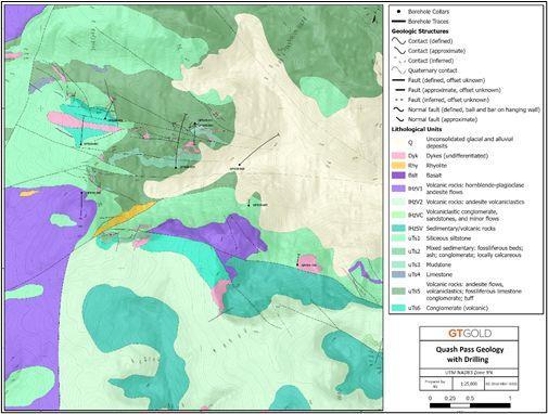 Quash Pass geology and borehole location, Tatogga Project, northwestern BC.