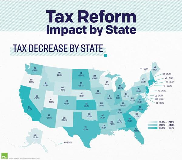 TCJA STATE DATA MAP TAX DECREASE