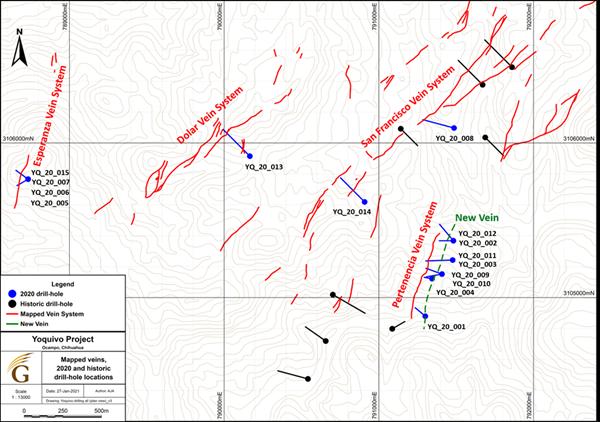 Yoquivo Drill Hole Locations and Principal Veins