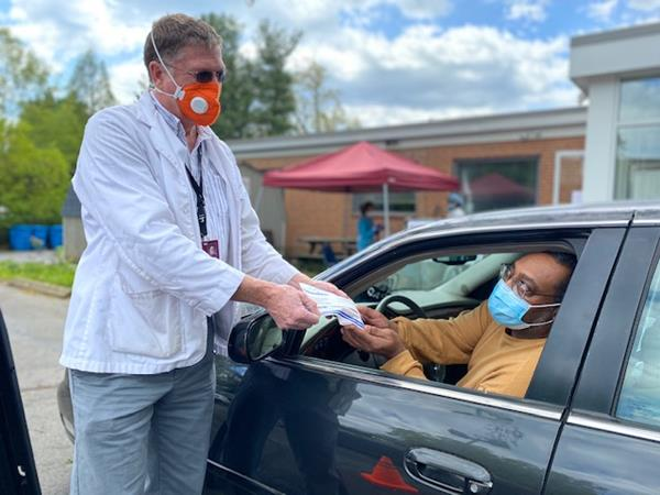 NAFC Member and Grantee through the CDP COVID-19 Repsonse Fund, the Bradley Free Clinic conducts a drive-thru for medication access during the coronavirus pandemic.