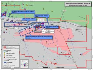 Figure 2: East Zone: 2018 Winter Drilling Program - 23,400m of Drilling in Val d'Or East