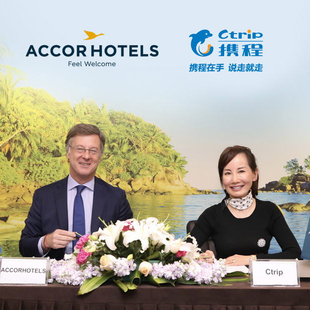 Signing ceremony between AccorHotels CEO Sebastien Bazin and Ctrip CEO Jane Sun