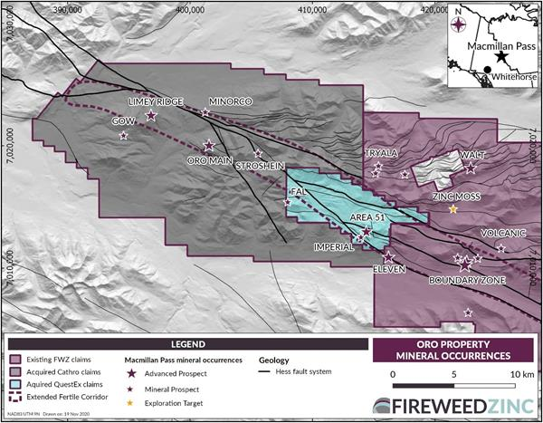 ORO PROPERTY MINERAL OCCURRENCES