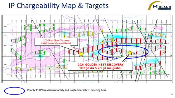 Figure 6 IP Chargeability Map and Targets