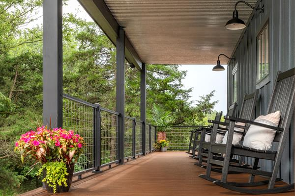 Trex Porch, Signature Mesh and Rocking Chairs