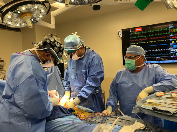 Oklahoma Fire Captain Randy Blake's lung transplant surgery at Dignity Health St. Joseph's Norton Thoracic Institute in Phoenix after suffering irreversible lung damage from COVID-19.