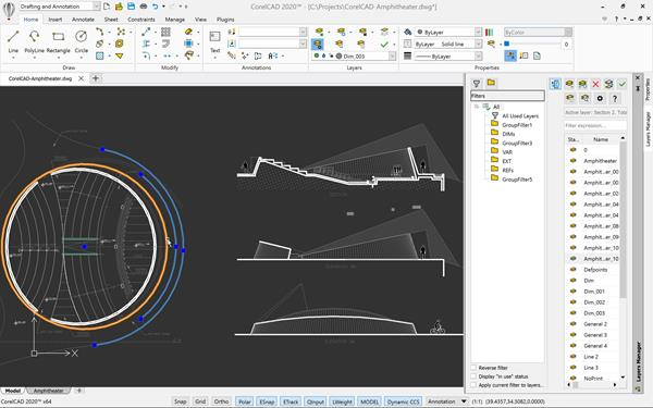 CorelCAD 2020 Layer Group Filters Windows