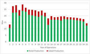 Figure 4: Nickel and Cobalt Production Volumes (Years 1 – 25)
