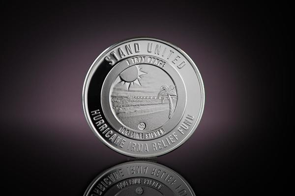 Obverse side of Florida Strong Silver Round, featuring a Miami beach with the sun beating down. Designed and minted by Republic Metals Corporation.