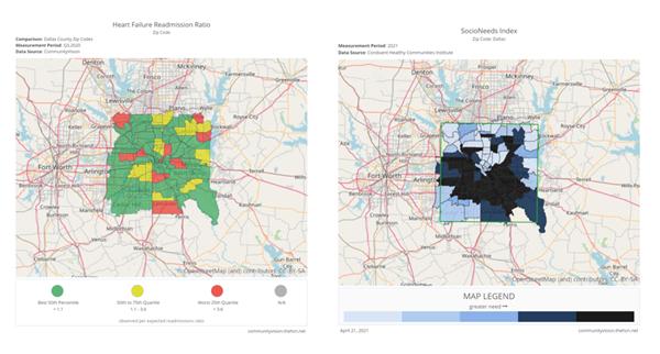 Zip code-level view of prominent community health and socioeconomic data.
