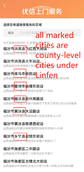 Example 2 - Linfen, a prefecture-level city in Shanxi Province, and its county-level cities and regions (2)