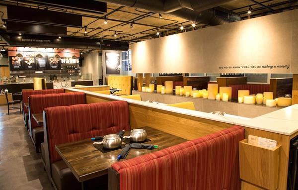 Interactive dining area in the next generation Melting Pot of Red Bank, New Jersey