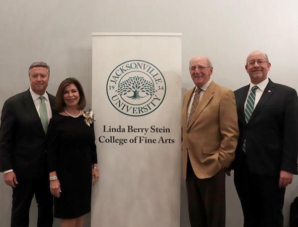 President Tim Cost, Linda Berry Stein, David Stein, Dr. Tim Snyder, 2018 Linda Berry Stein College of Fine Arts unveil at Jacksonville University.