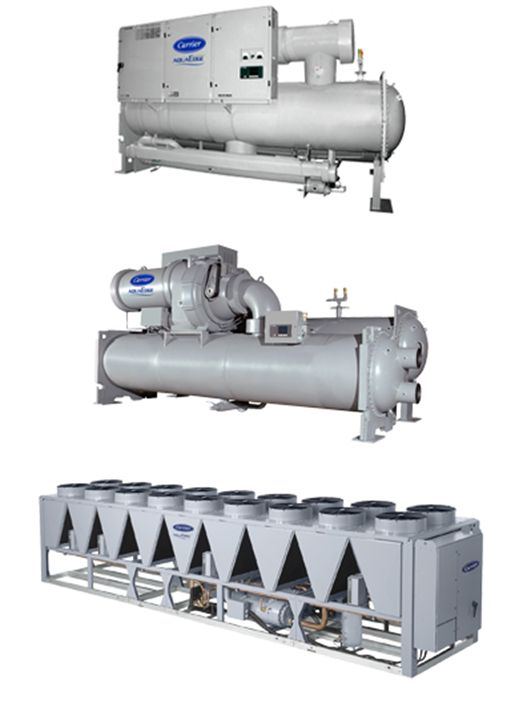 Carrier AquaEdge® 19XR, 23XRV and AquaForce® 30KA, 30XA, 30XB, 30XW and 30HXC Chillers