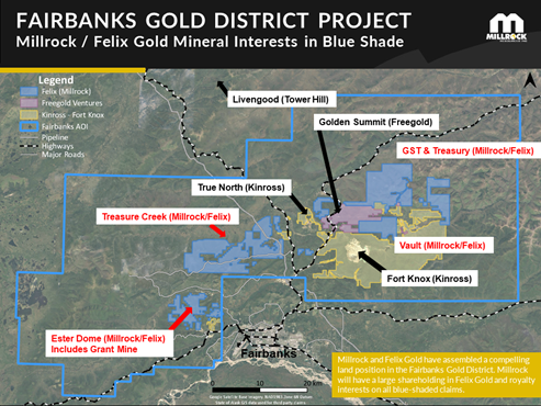 Figure 2. Blue shading indicates Millrock / Felix Gold mineral land holdings in the Fairbanks Gold District, Alaska.