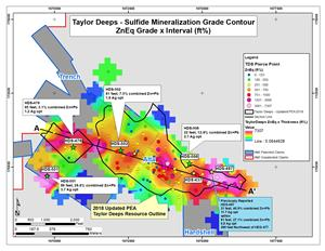 Figure 2. Plan View of Taylor Deeps with ZnEq Grade Contour