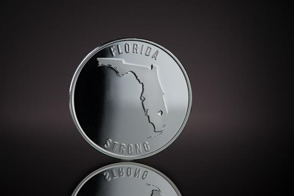 Reverse side of Florida Strong Silver Round, featuring the state of Florida. Designed and minted by Republic Metals Corporation.
