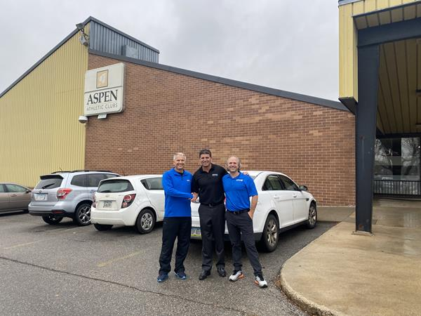 Rod Sears (L) and Luke Aduddell (R), Aspen Athletic Clubs Co-Owners with Genesis Health Clubs President and Owner Rodney Steven II (C)