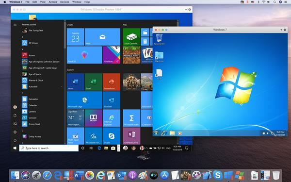 Parallels Desktop 15 for Mac running Windows 10 and Windows 7 on macOS Catalina