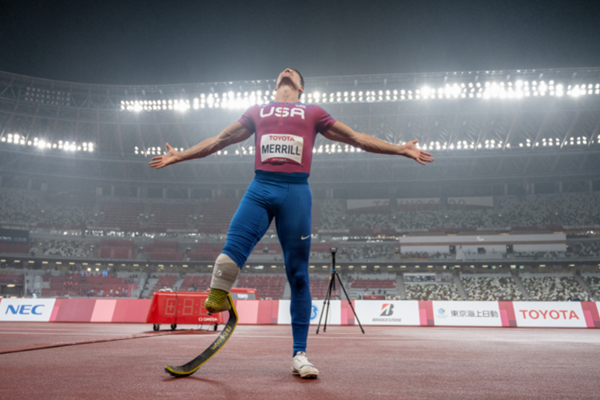 Challenged Athletes Foundation grant recipient Trenten Merrill wins bronze at the 2020 Paralympic Games in Tokyo. Photo credit: Donald Miralle via National Geographic