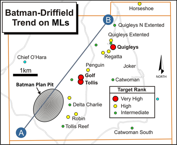 Figure 1:  Plan map of the Mt Todd MLs with details of the southwestern portion of the Batman-Driffield Trend