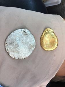Gold from test of smelting process