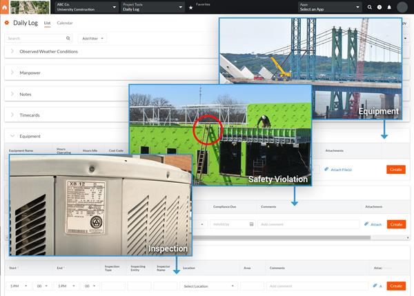 EarthCam now delivers visual data to Procore's Daily Log for safety violations, accidents, equipment records and site inspections.