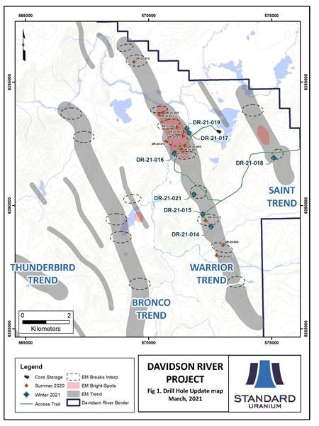 Davidson River Drill Hole Update Map March 2021