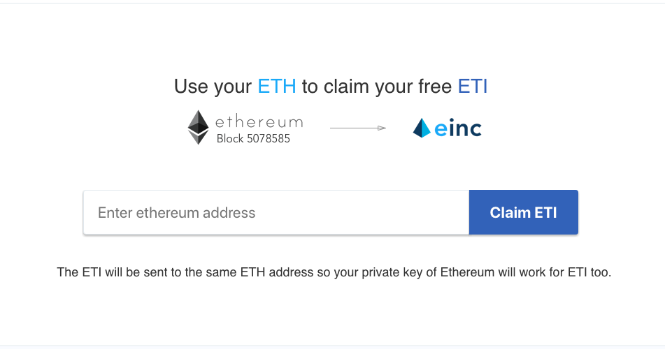 Claim ETI Using ETH