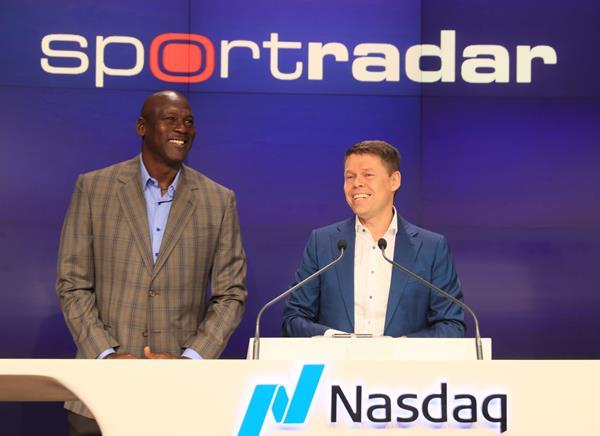 Michael Jordan and Carsten Koerl at Nasdaq