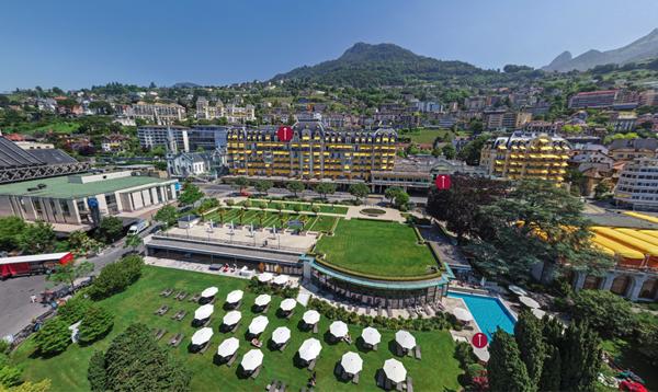 Fairmont Le Montreux Palace - Aerial 360° TrueTour Image Still  |  Visit Accor360.com to explore this and many more Accor properties in a true-to-life immersive experience.
