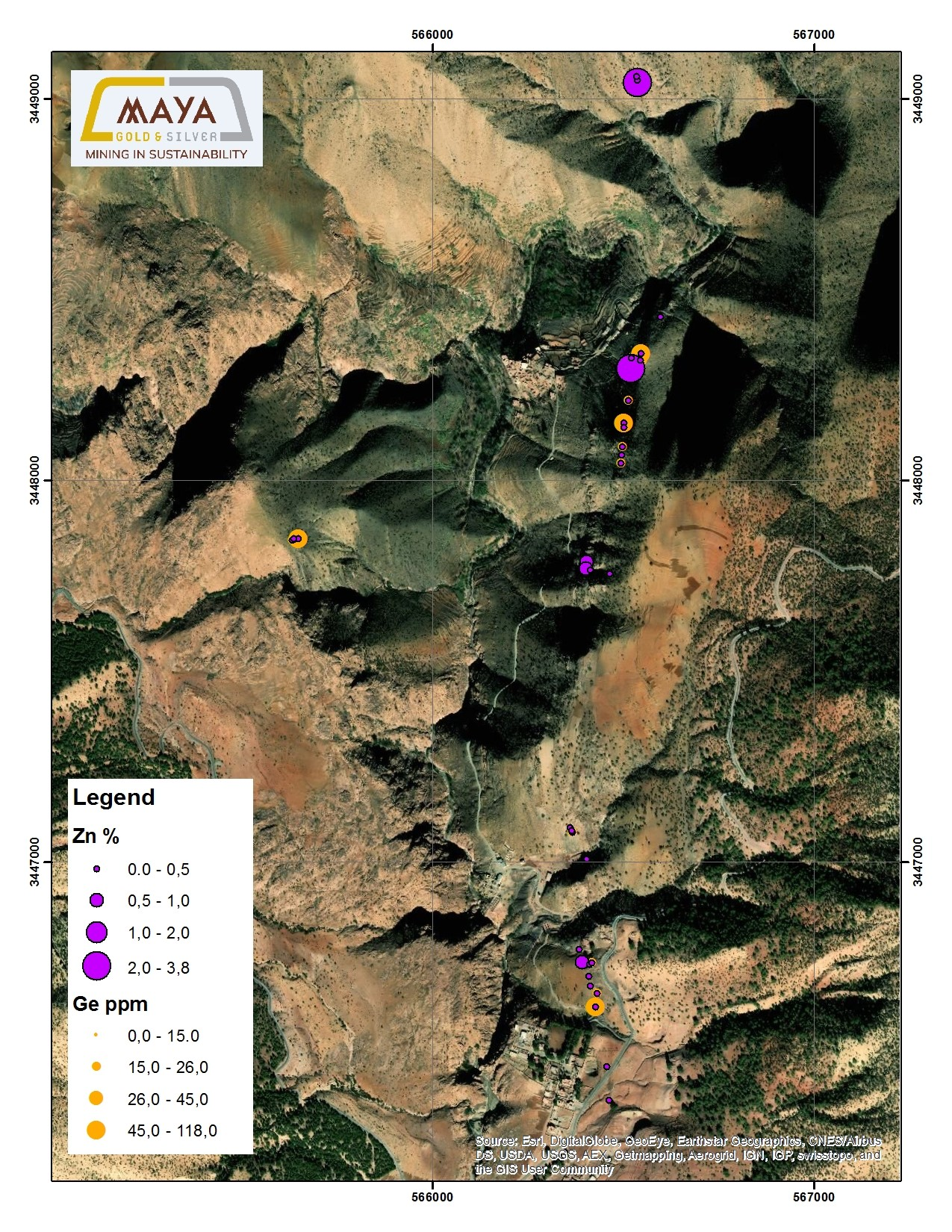 The distribution of samples showing Zn (%) and Ge (ppm), Azegour property.
