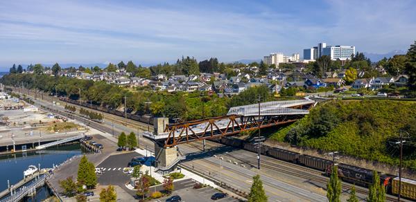 Aerial view of the new Grand Avenue Park Bridge in Everett, Washington. Photo: © Adam Hunter/LMN Architects.