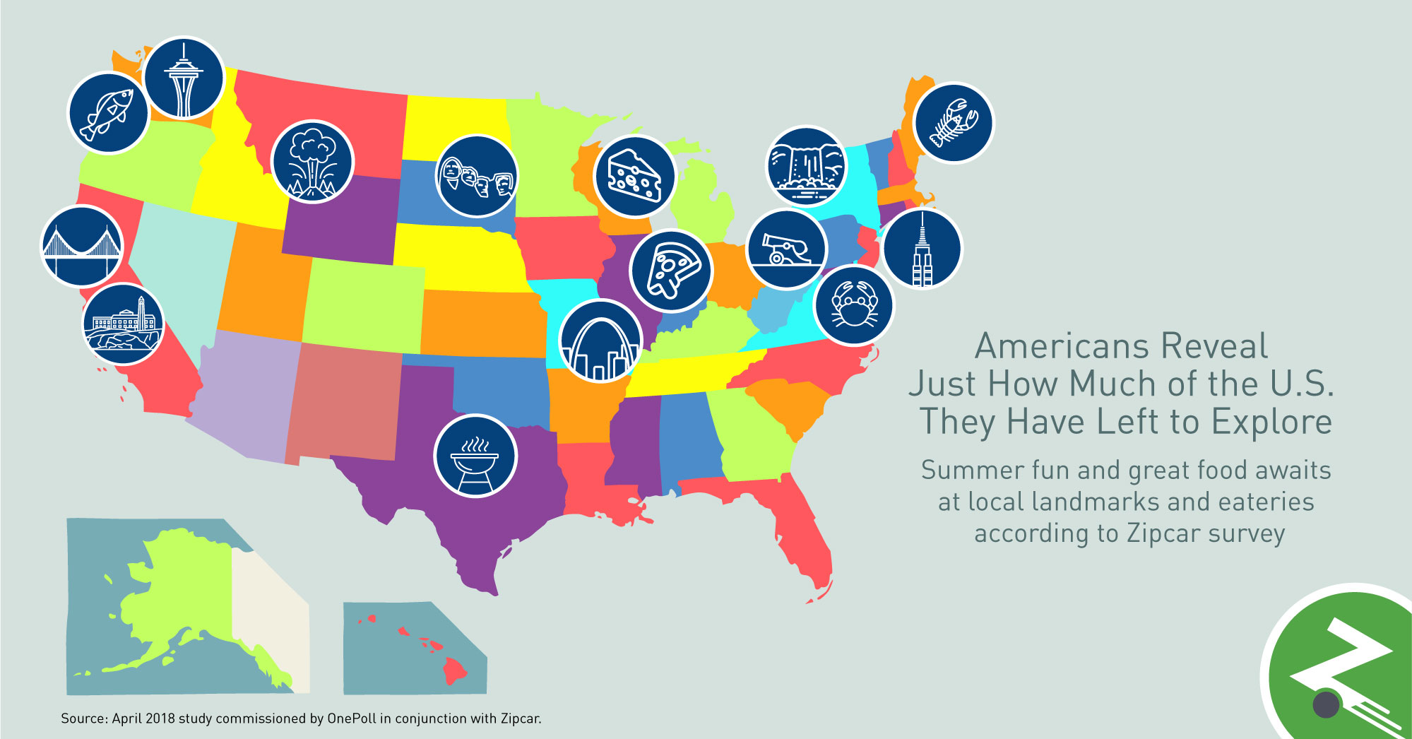 Αποτέλεσμα εικόνας για Zipcar Summer Travel Survey Reveals Top 10 U.S. Iconic Sights and Foods