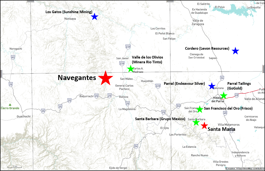 Navegantes Nearby Major Mines and Development Projects
