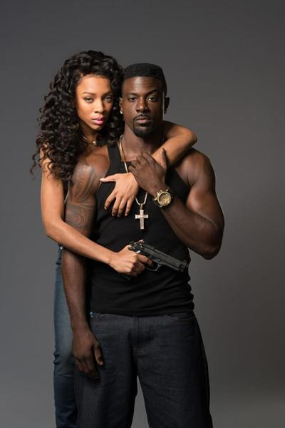 """Niatia """"Lil' Mama"""" Kirkland as Falicia Blakely and Lance Gross as Dino in the TV One movie """"When Love Kills,"""" directed by Tasha Smith. The film also stars Tami Roman and will premiere Monday, August 28 on TV One. (Credit: Courtesy of TV One)"""