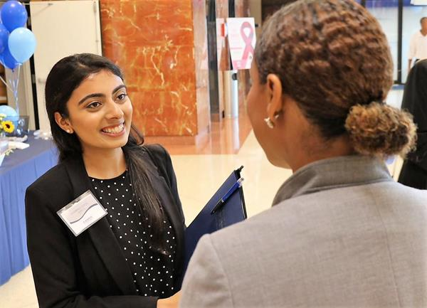 Pangela Dawson (right), founding director of the MSM PA program, chats with one of the 100 students recently interviewing for 20 spots in the first class.