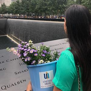 UNITED SIKHS Volunteers Paying Respects and Distributing Flowers at the 9/11 Ground Zero Memorial in Manhattan