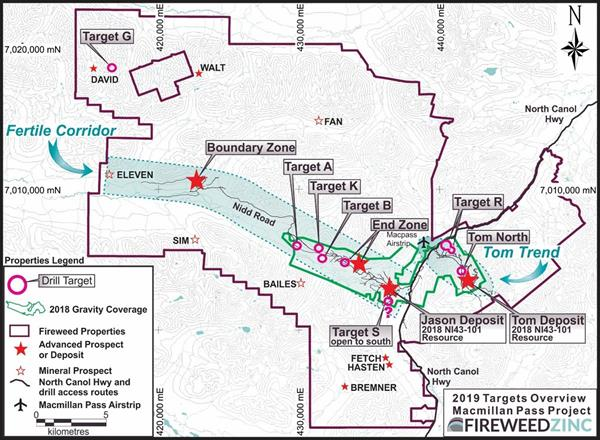 Fireweed Zinc Announces New Targets & 2019 Exploration Plans