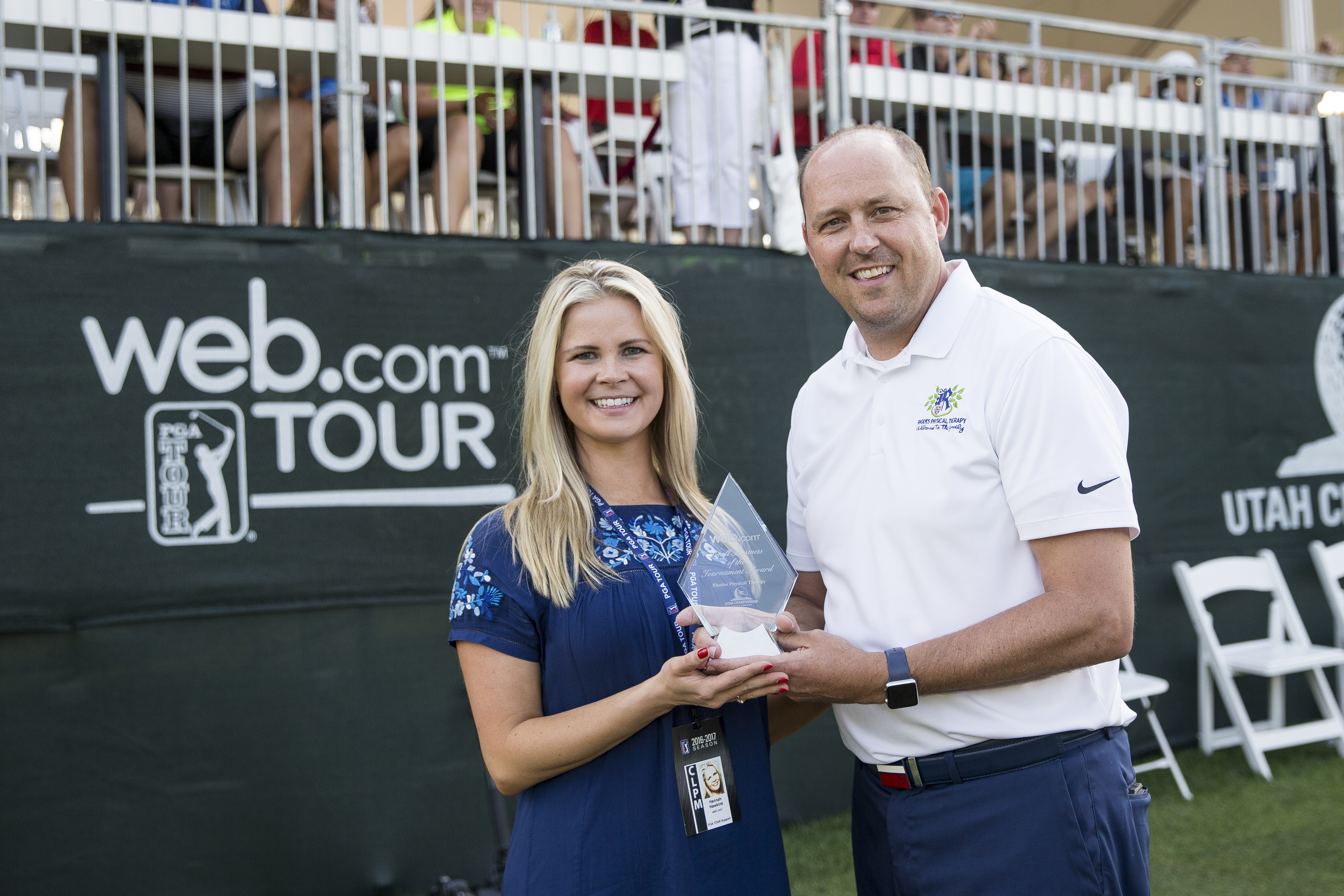 Hannah Hawkins and Jon Rhodes - Web.com Small Business of Tournament Award