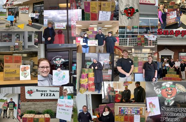 Snappy Tomato Pizza Collage – Images of Girl Scout Cookie Cases Delivered and Celebrated www.SnappyTomato.com  #Pizza #SnappyTomato  #SnappyGirlScouts #Family #Dinner #CarryOut #PickUp #Delivery #TakeAway #Franchise #TakeOutTuesday