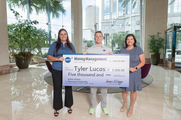 From left to right: MMI Vice President of Counseling and Support Jamie Payne, Karen Soileau Memorial Scholarship recipient Tyler Lucas, MMI Senior Director of Support Services Michelle Chacon