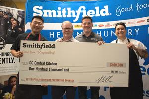 Smithfield Foods donates 40,000 pounds of protein to DC Central Kitchen and volunteers in test kitchen ahead of Nov. 6 Capital Food Fight Event.