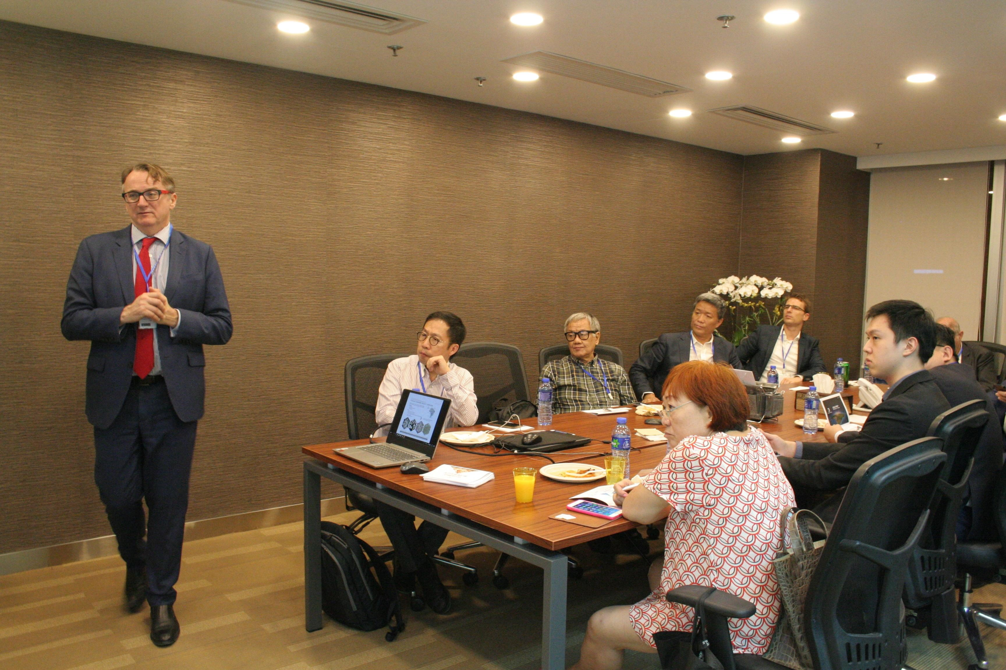 Jeremy South, Senior VP and CFO presenting at the HKIMA Conference in Hong Kong.