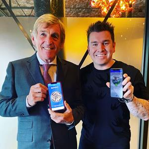 SIR KENNY DALGLISH MBE with tech entrepreneur Louis-James Davis, developer of the V-Health Passport™