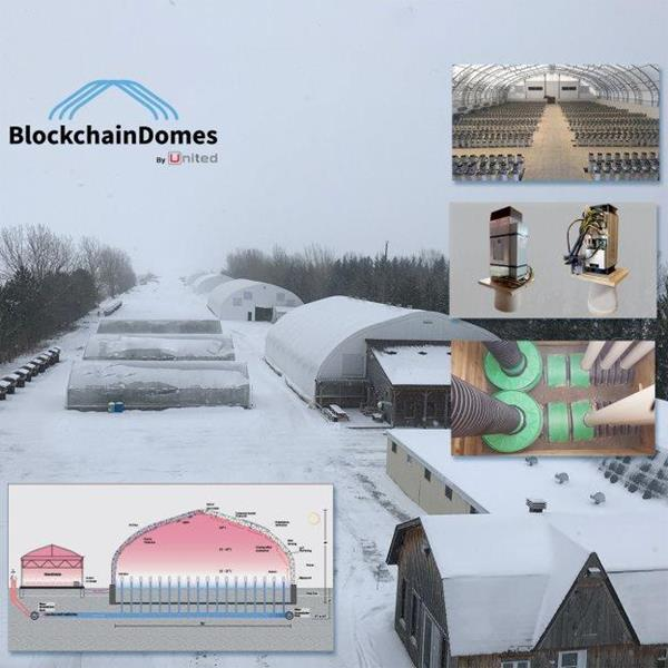 Campus and Interior Views of UnitedCorp Blockchain Domes and Rendering of Adjacent Greenhouses May 17