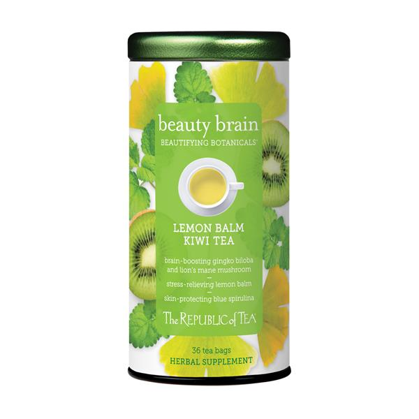Beauty Brain™ features notes of sweet kiwi and calming lemon balm, which has potential to reduce stress and anxiety while boosting cognitive function.* Other cognition-supporting ingredients include Lion's Mane mushroom, an adaptogen used in traditional Chinese medicine to support brain health, protect against dementia, and relieve mild symptoms of depression and anxiety*; and Ginkgo Biloba, which has also been used for thousands of years in traditional Chinese medicine to treat mental health conditions and fatigue.*