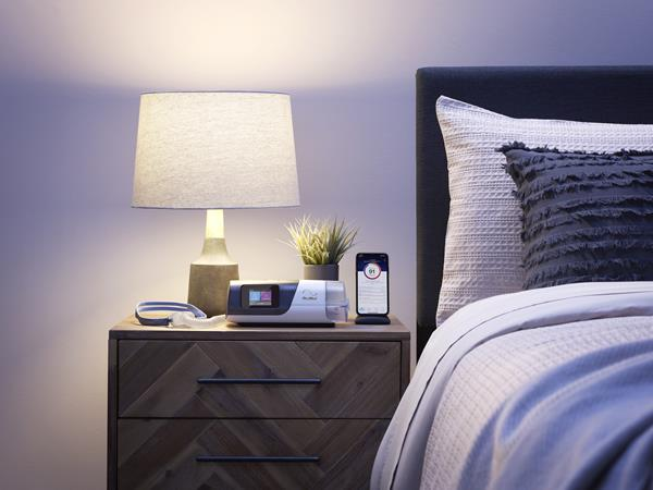 AirSense 11 PAP with Nasal Pillow Mask on Nightstand